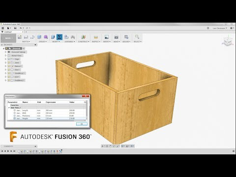 A Simple Wooden Box & Some Parameters — Fusion 360 Tutorial — #LarsLive 128