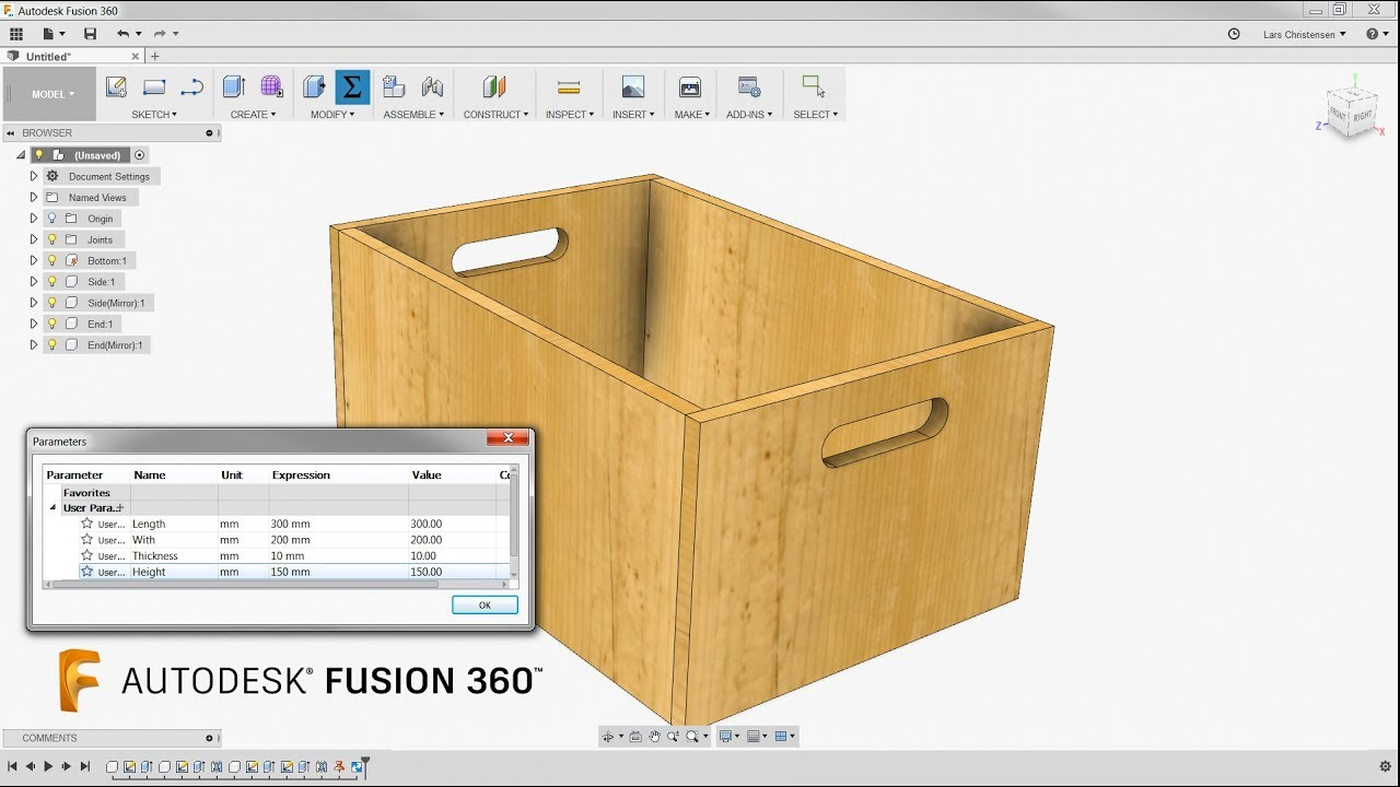 A Simple Wooden Box & Some Parameters — Fusion 360 Tutorial — #LarsLive 129