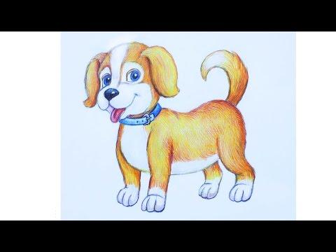 Уроки рисования. Как нарисовать щенка how to draw a cute puppy