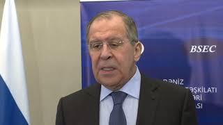 Пресс-подход С.Лаврова по итогам СМИД ОЧЭС в Баку (2)