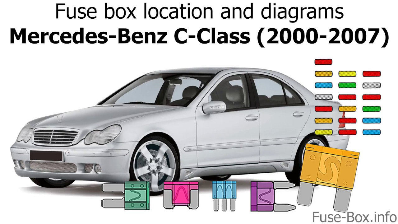 fuse box location and diagrams mercedes benz c class 2000 2007 [ 1280 x 720 Pixel ]