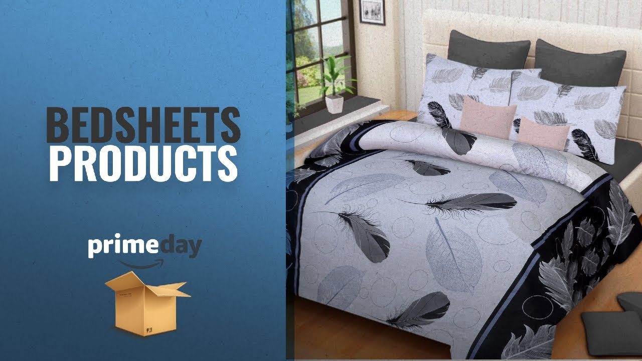 Prime Day Bedsheets Deals 2018: Home Elite Dynamic Print 120 TC Cotton  Double Bedsheet With 2 Pillow