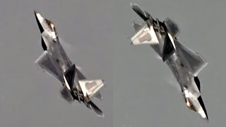 The Awesome F22 Falling Leaf Manouevre, J-Turn & Tail Slides. 🇺🇸