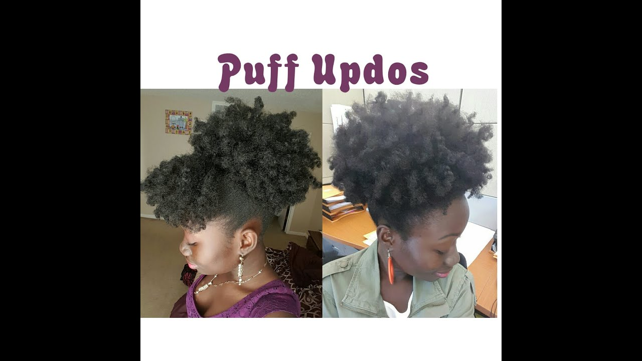 2 Simple Natural Hair Styles High Puff Amp Bangs Youtube
