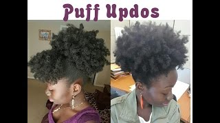 2 Simple Natural Hair Styles High Puff Bangs