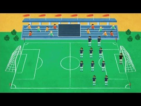 رسم ملعب كرة القدم مع اللاعبين