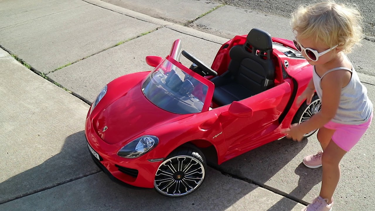 Red Porsche Driving Car For Toddler