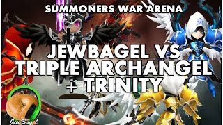 SUMMONERS WAR : ARENA vs TRIPLE ARCHANGEL & TRINITY the Dark Valkyrja