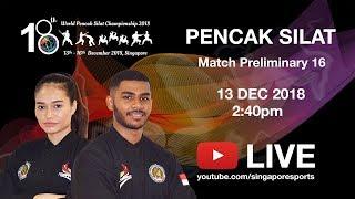 Pencak Silat Match Preliminary 16 (Day 1 Arena 1)   18th World Pencak Silat Championship 2018