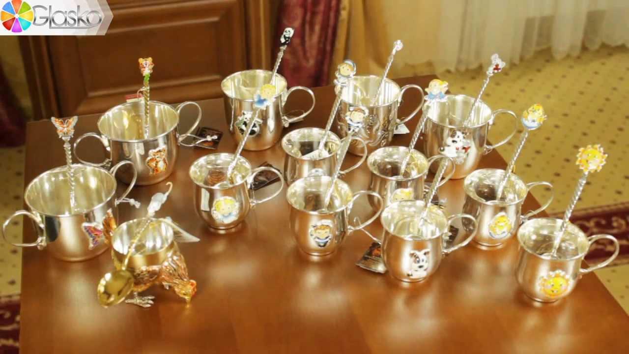 Детская кружка из серебра с эмалью, детская ложка из серебра | glasko.com.ua