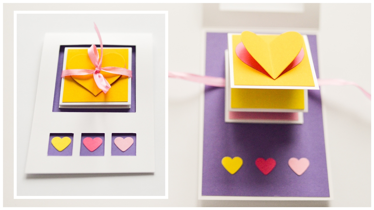 How To Make Pop Up Greeting Card Valentines Day Hearts Step By