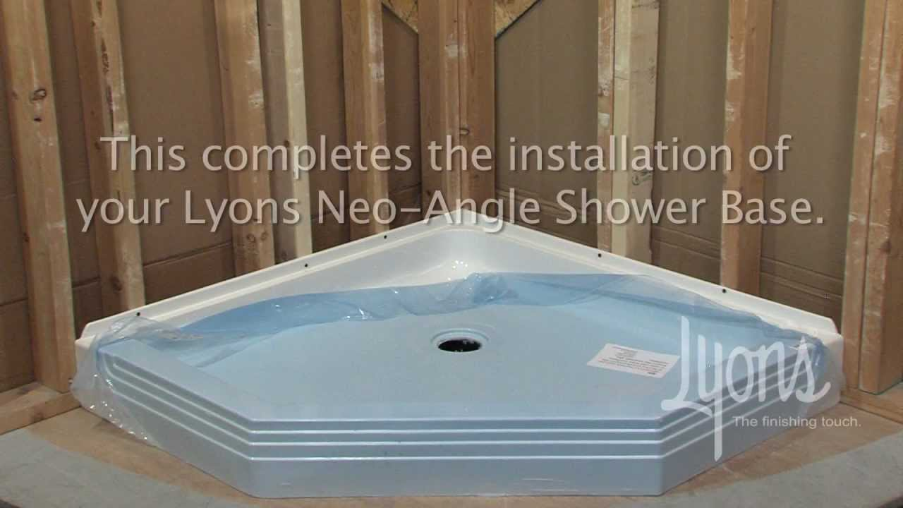 how to install a stand up shower base Lyons Neo Angle Shower Base Installation   YouTube how to install a stand up shower base