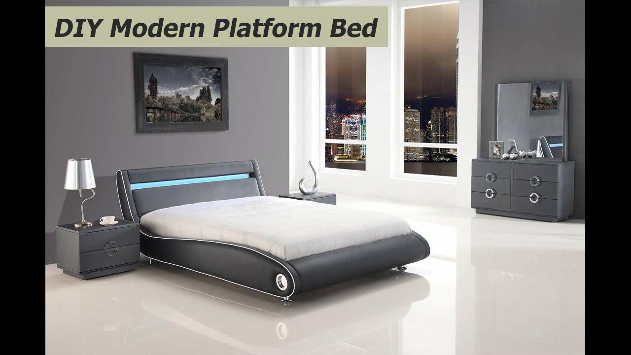 DIY Modern Platform Bed   Bedroom Design Ideas - YouTube