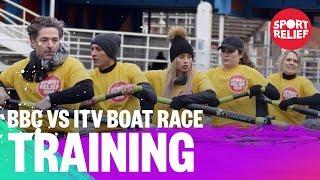 BBC and ITV presenters train for the boat race - Sport Relief 2018 - BBC