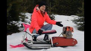 Детский снегокат с мотором. Обзор. Покатушки.