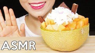 ASMR MELON BINGSU (Korean SHAVED ICE DESSERT) *CRUNCHY&JUICY* 멜론빙수 리얼사운드 먹방