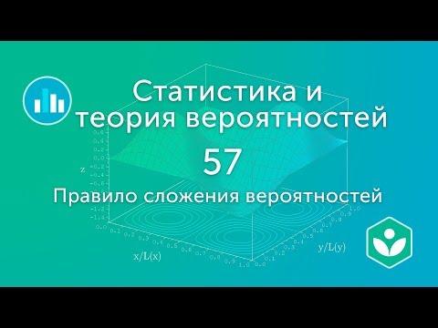 Правило сложения вероятностей (видео 57) | Статистика и теория вероятностей