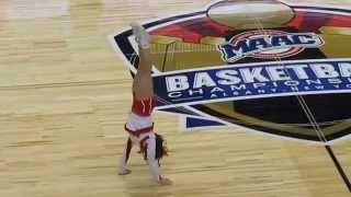 Marist College Cheerleader Sally Full Court Hand Stand Challenge in Albany - March 05, 2015