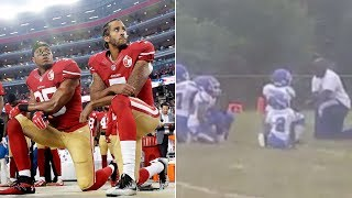Kids kneel during national anthem before little league football game (reaction)