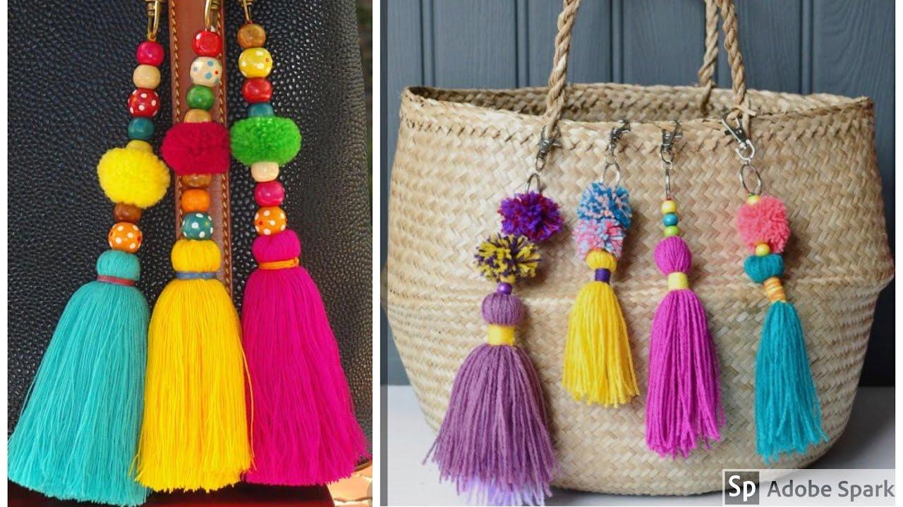 Pom Keychains How To Make Woolen Tassel Bag Charm Very Easily Key Chain Tutorial