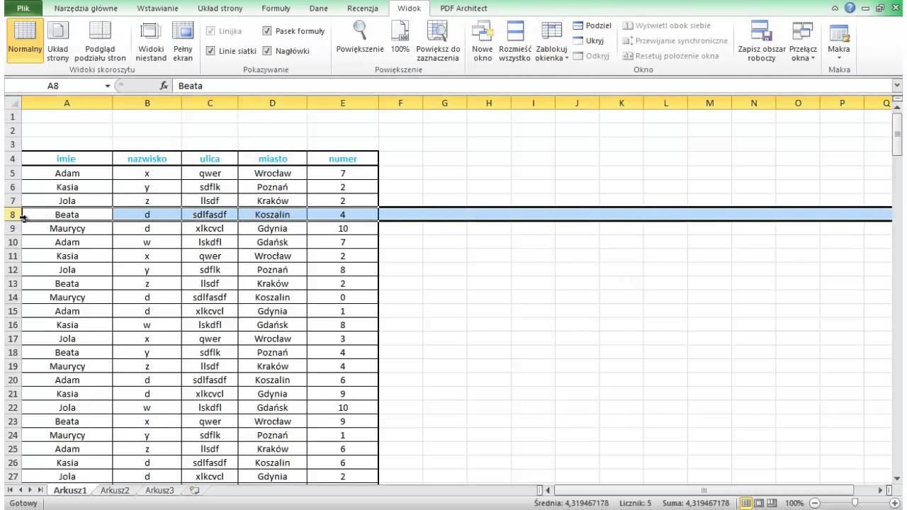 Excel Podstawy Blokowanie Kolumn I Wierszy