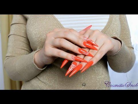 Neon Orange Stiletto Nails | CosmeticSnob - YouTube