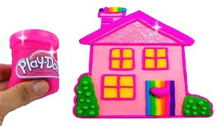 Play Doh Making Colorful Baby Doll House Disney Princess Super Glitter Dresses Learn Colors