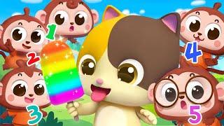 ★NEW★五隻小猴子捉迷藏!看看哪隻小猴子最厲害   數字兒歌   童謠   動畫   卡通   寶寶巴士   奇奇   妙妙