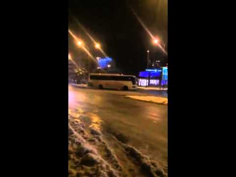 Bus sliding on ice in Jordan.