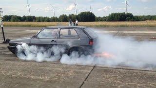 VW Golf Mk2 R30 Turbo 900hp 1/4 Mile Drag Race 5x8,8sec Turboscheune Test&Tune 13.07.2014