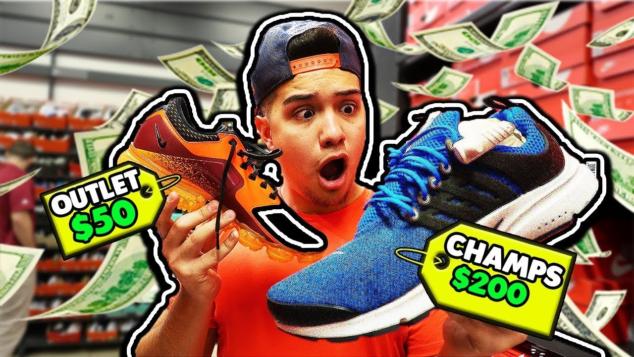 d09846500a444 NIKE OUTLET VS CHAMPS SPORTS! - YouTube