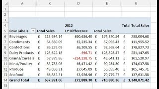 Calculate Difference to Previous Years - Excel PivotTables Tutorial thumbnail