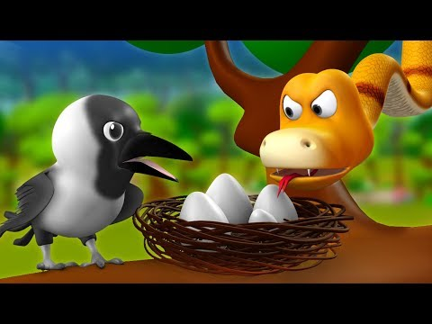 The Crow and Snake 3D Animated Hindi Stories for Kids - Moral Stories कौआ और साँप हिन्दी कहानी Tales