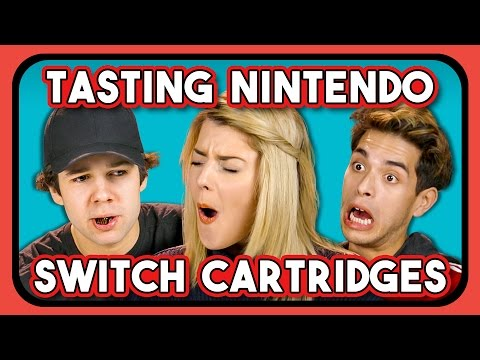 Thumbnail: YOUTUBERS REACT TO TASTING NINTENDO SWITCH CARTRIDGES