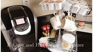 Dollar Tree DIY K-cup Organizer- Rotating & Folding + Hot Drinks Station - Holds up to 96 Kcups