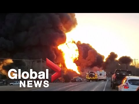 Massive explosion after truck crashes into train in Texas