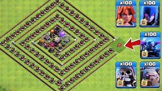 Who Can Survive This Difficult Trap on COC? Trap VS Troops #20