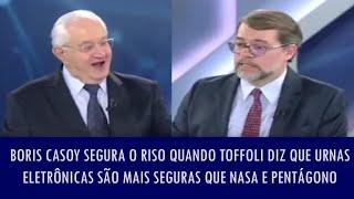 Boris Casoy segura o riso quando Toffoli diz que urnas eletrônicas são mais seguras que Nasa e Pe..