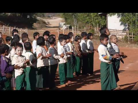 School class in Myanmar singing