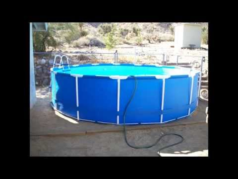 Intex 15 39 x 42 steel frame above ground pool unboxing setup review youtube for Metal frame swimming pool 12 x 39