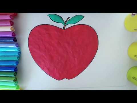cómo-dibujar-una-manzana- -dibujos-para-colorear-plastilina -aprender-a-colorear