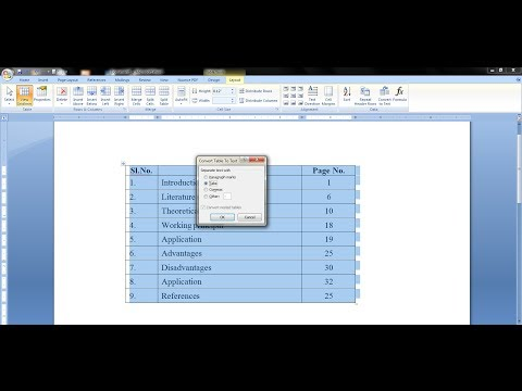 How to Convert Table to Text in Microsoft Word 2003, 2007, 2013