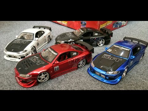 Unboxing Jada Toys Nissan Silvia S15 DRFT Scale 1:24, Giftpack Series Import Racer - Super Rare Item