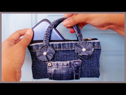 DIY Easy Mini Handbag Phone Case/Purse from Old Jeans(NO SEW) thumbnail