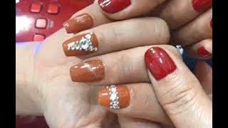 Cách sơn gel kết hợp đính đá gắn nơ - Haiya nail