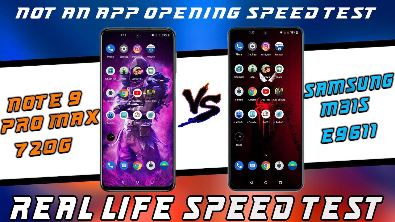 Samsung galaxy M31s vs Redmi Note 9 Pro Max Speed Test   Snapdragon 720G Vs Exynos 9611 Speed test