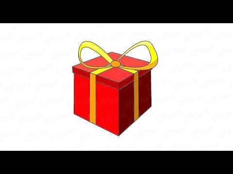 Как нарисовать подарок поэтапно