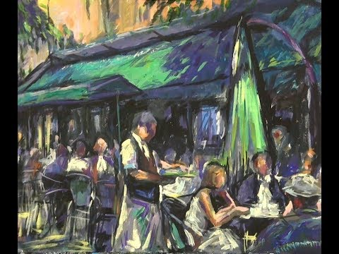 """French cafe"" Acrylics demonstration for Spalding Art Society"