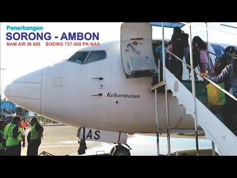 Terbang Dengan Pesawat Boeing 737-500 NAM Air IN 606  Rure Sorong - Ambon PK-NAS, Landing Ambon