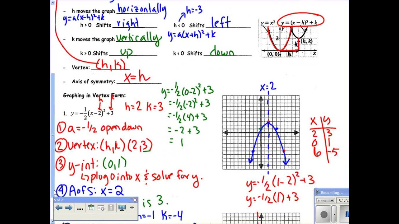 Section 53 translating parabolas vertex form youtube section 53 translating parabolas vertex form falaconquin